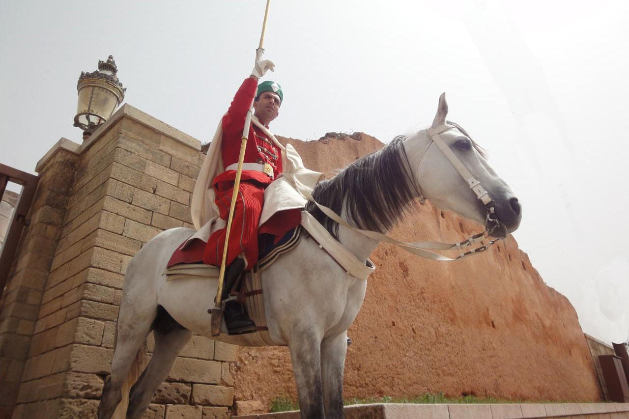 Guardia Real A Caballo En Rabat En Marruecos