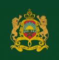 Bandera con escudo de armas real marroquí