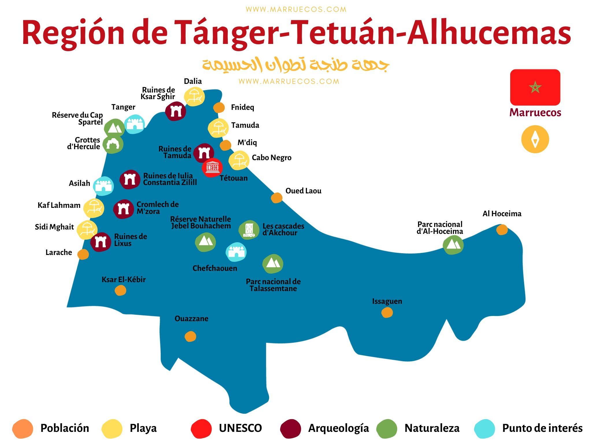Mapa Region Tanger-Tetuan-Alhucemas en Marruecos