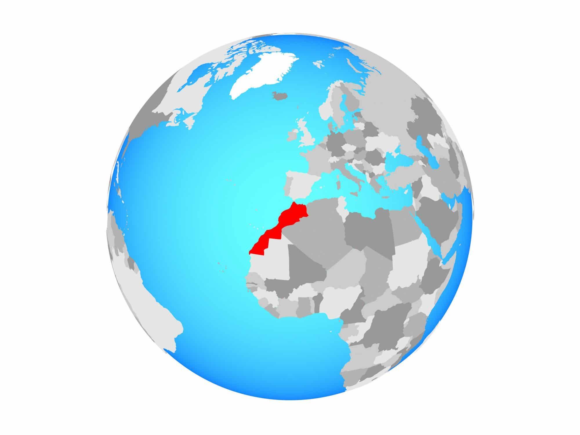 Marruecos en un mapa mundi