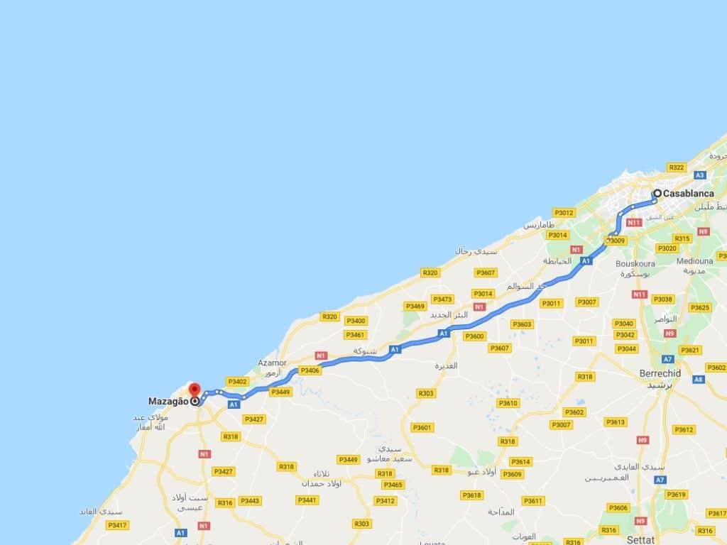Ruta Casablanca El Yadida en Marruecos