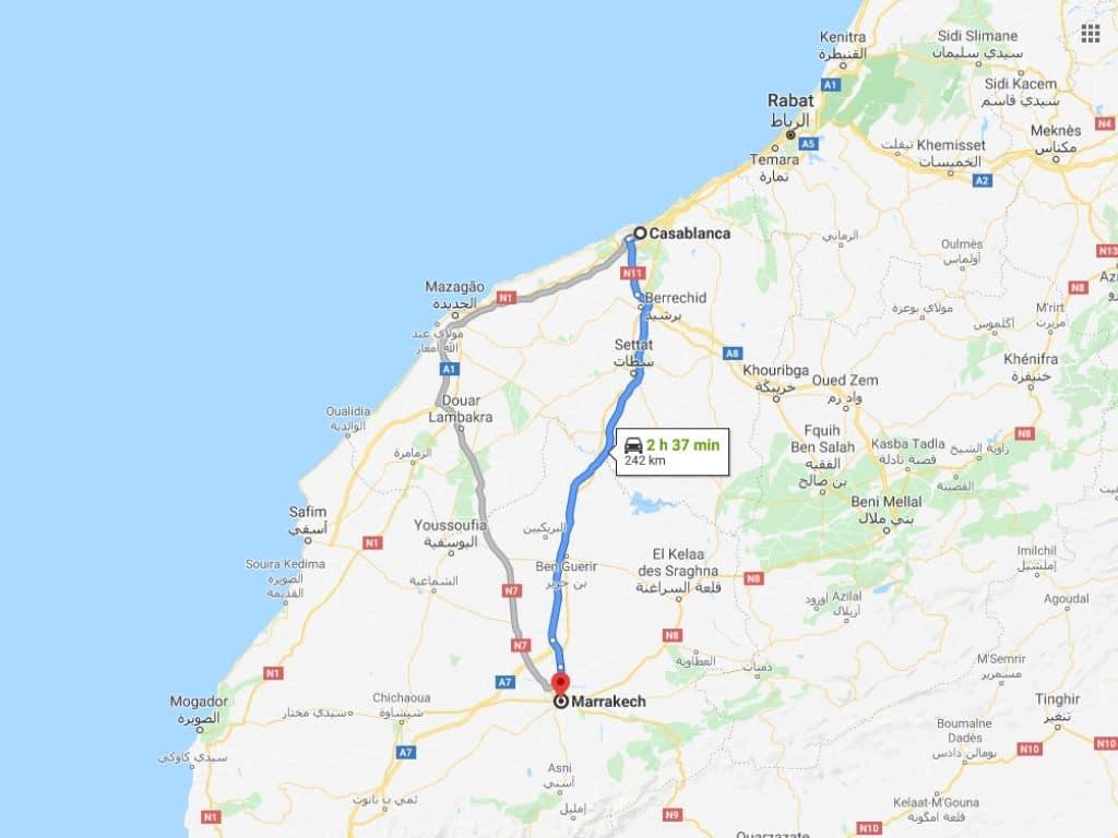 Ruta Casablanca Marrakech en Marruecos