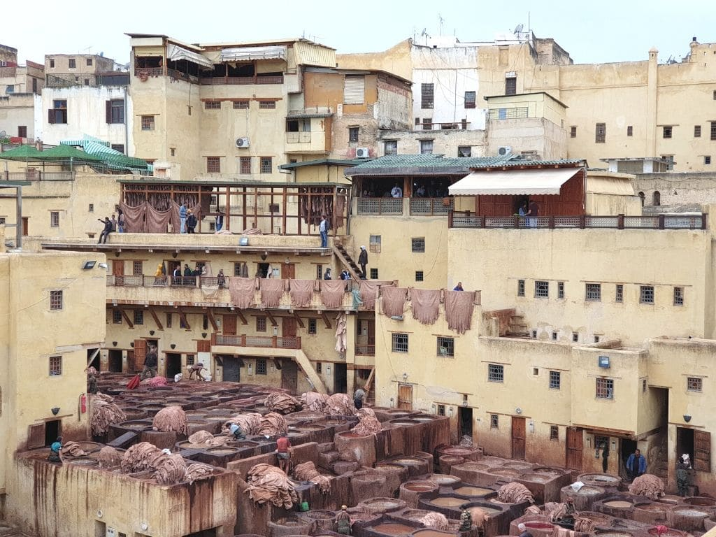 curtidurías de pieles en Fez marruecos