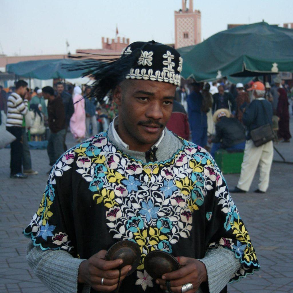 Musico En La Plaza Jemaa El Fna De Marrakech