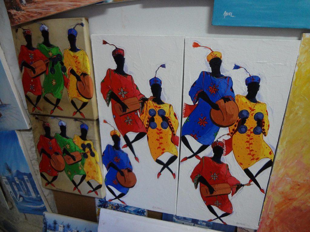 Pinturas Con Músicos Gnawa En Essaouira